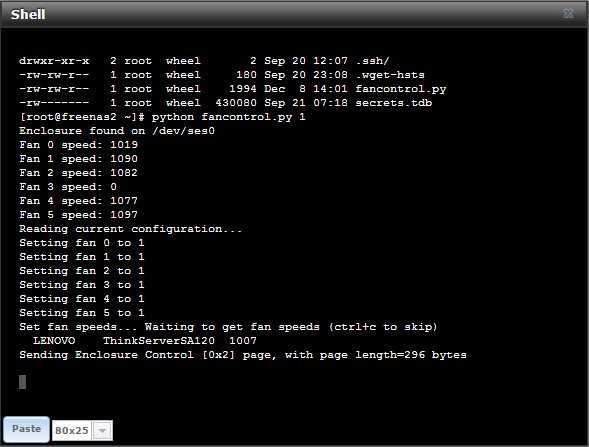 How To: Control Lenovo SA120 fan speeds from within FreeNAS